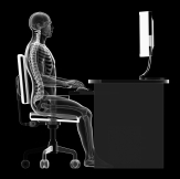 3d rendered illustration of a man working on pc - correct sitting posture